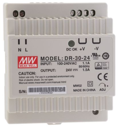 DR-45-24 AC//DC 24V Single Power Supply with Single Output Cutting 24V Din-Rail Industrial Power Supply for DIN Rail