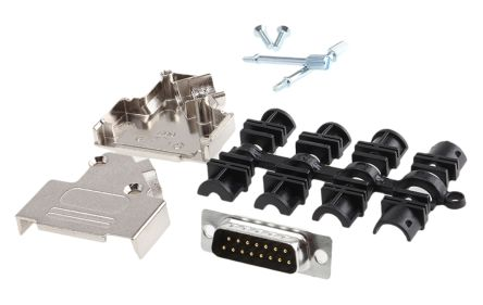 15 Way D-Sub Plug Connector Kit With Contact Insert, D-sub Plug Connector, Hood, UNC 4-40 Thumb Screws product photo