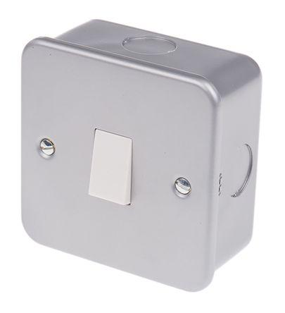 Grey 6 A Surface Mount Rocker Light Switch Grey 5 mm, 2 Way Screwed Matte,  1 Gang BS Standard, 240 V 86 5mm