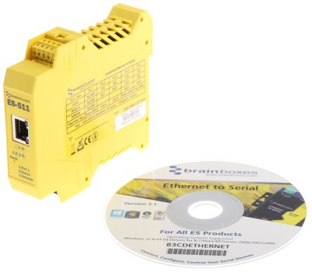 Brainboxes Industrial Interface Converter Ethernet To Serial Device Server for use with diverse Series
