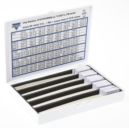 Vishay, D12/CRCW0805 Thick Film, SMT 122 Resistor Kit, with 6100 pieces, 10 Ω to 1 MΩ