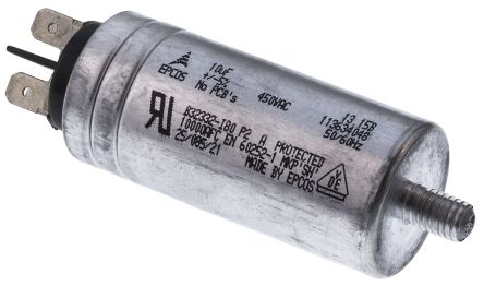 Epcos 10μF Polypropylene Capacitor PP 450V ac ±5% Tolerance Stud Mount B32332 Series