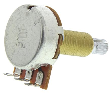 Bourns 1 Gang Rotary Carbon Potentiometer with a 6 mm Dia  Shaft, 500kΩ,  ±20%, 0 25W, Audio PDB241-GTR03-504A2