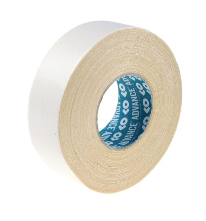 AT302 White Double Sided Cloth Tape, 50mm x 50m, 0.25mm Thick product photo
