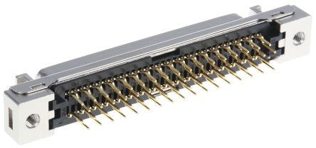 102 Series, Female 68 Pin Straight Through Hole PCB D-sub Connector 1.27mm Pitch, Solder, Quick Latch product photo