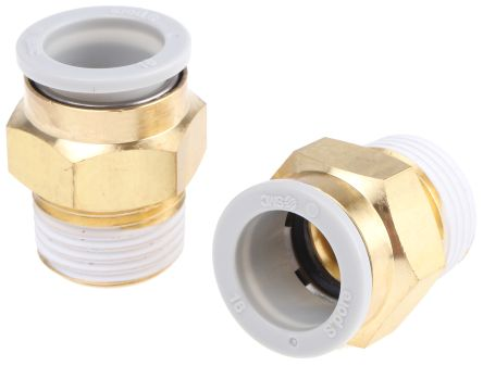 Pneumatic Straight Threaded-to-Tube Adapter, Push In 16 mm, R 1/2 Male BSPPx16mm product photo