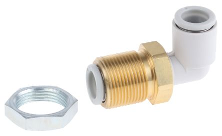 SMC Pneumatic Bulkhead Threaded-to-Tube Adapter, Push In 8 mm, M16 x 1 Male BSPPx8mm