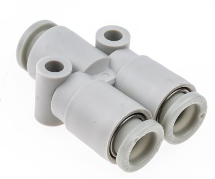 KQ2 Pneumatic Y Tube-to-Tube Adapter, Push In 6 mm x Push In 6 mm x Push In 6 mm product photo