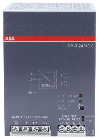 CP-T Switch Mode DIN Rail Panel Mount Power Supply, 240W, 24V dc/ 10A