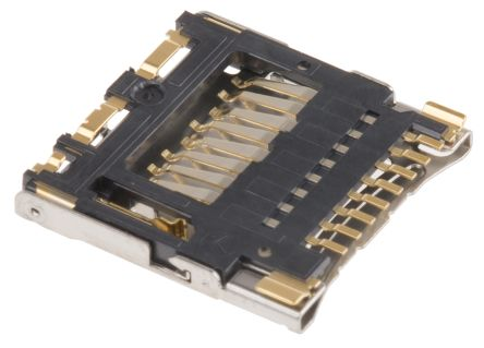 Hirose 8 Way Right Angle Micro SD Memory Card Connector With Solder Termination