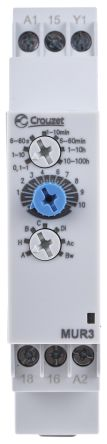 Crouzet Asymmetrical, Interval, OFF Delay, ON Delay, ON Pulse, Symmetrical Multi Function Timer Relay, Screw, 0.1 s