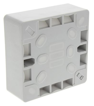 RS PRO White Matt Urea Formaldehyde Back Box, BS Standard, IP20, Surface Mount, 1 Gangs, 86.6 x 86.6 x 28mm