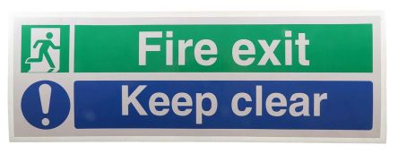 RS PRO Vinyl Fire Safety Sign, Fire Exit Right Sign With English Text Self-Adhesive, 450 x 150mm