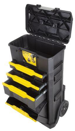 1 79 206 Stanley 4 Drawer Aluminium Plastic Wheeled Tool Chest 866mm X 348mm X 488mm Stanley