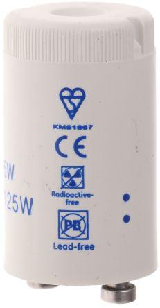 GE 37864, Glow Fluorescent Light Starter, 75 → 125 W, 220 → 240 V ac, 36 mm length , 21.5mm Diameter
