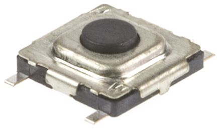 Black Tactile Switch, Single Pole Single Throw (SPST) 20 mA 0.3mm Surface Mount