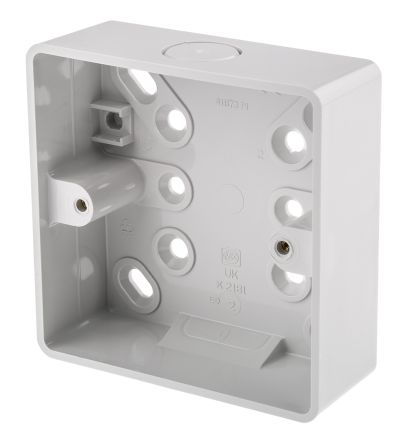 k2181whi mk electric pvc back box 1 gangs 87 x 87mm rs components rh uk rs online com Outdoor Electrical Box Covers Electrical Switch Box