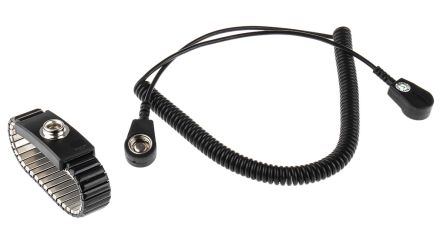 RS PRO 10mm Stud ESD Grounding Wrist Strap & Cord Set 2m Length Cord