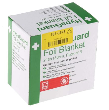 RS PRO Foil Emergency Foil Blanket Blanket, 6 Per Package 2m, X 1.3m