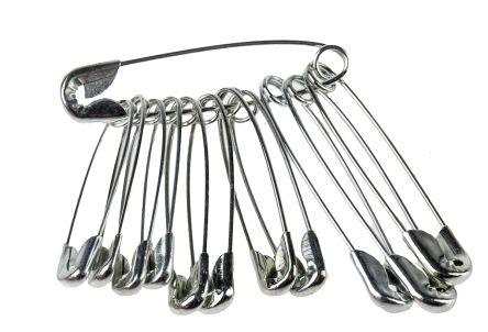 RS PRO Stainless Steel Safety Pins Safety Pins, 12 Per Package