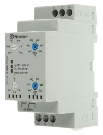 Finder 70 Series Voltage Monitoring Relay With SPDT Contacts, 380 → 415 V,  3 Phase