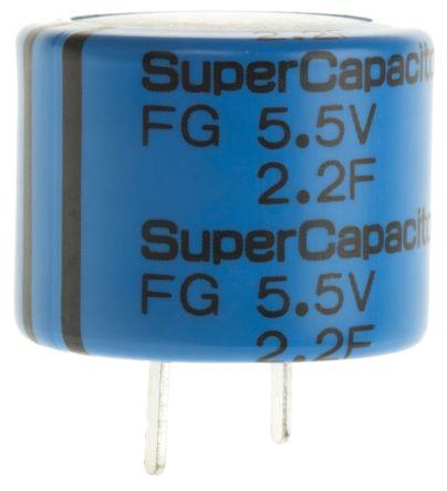 KEMET 2.2F Supercapacitor EDLC -20 → +80% Tolerance Supercap FG Series 5.5V dc Through Hole