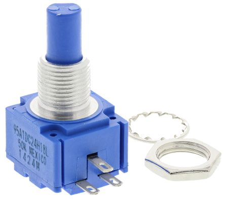 Bourns 1 Gang Rotary Cermet Potentiometer with a 6 35 mm Dia  Shaft, 50kΩ,  ±5%, 2W, Linear 95A1D-C24-H18L