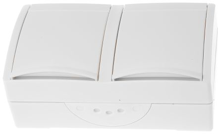 Busch Jaeger - ABB 2 Gang Thermoplastic Electrical Socket, Type F - German Schuko, 16A, Flush Mount, IP44
