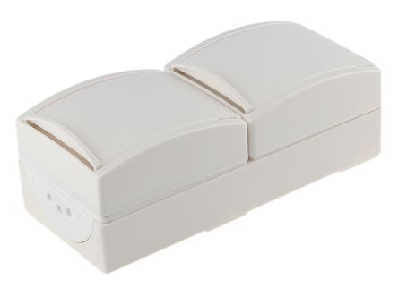 Busch Jaeger - ABB 2 Gang Thermoplastic Electrical Socket, Type F - German Schuko, 16A, Surface Mount, IP44