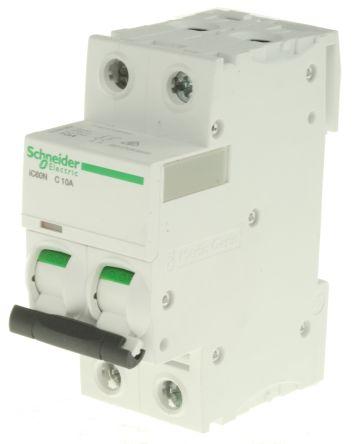 A9F44210 | Acti 9 iC60N MCB 2P, 10 A, Curve C | Schneider Electric