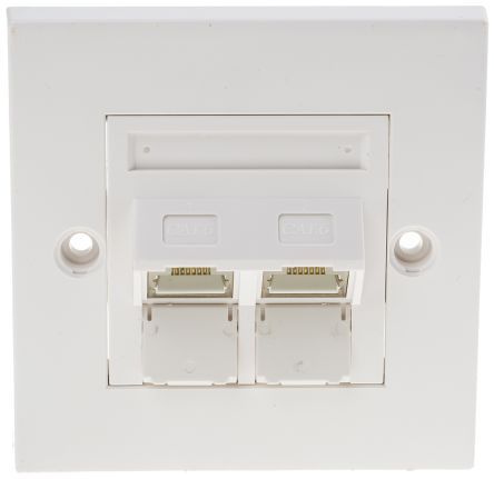 Cat6 STP Faceplate Angled 2 Port