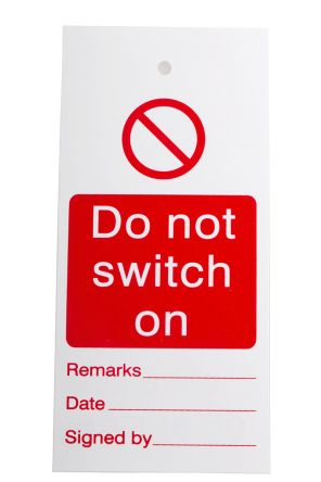 1 x 'Do Not Switch On' Lockout Tag, 160 x 75mm