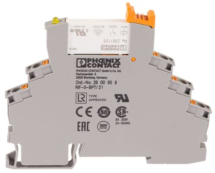 Phoenix Contact SPDT Non-Latching Relay DIN Rail, 24V dc Coil, 6 A