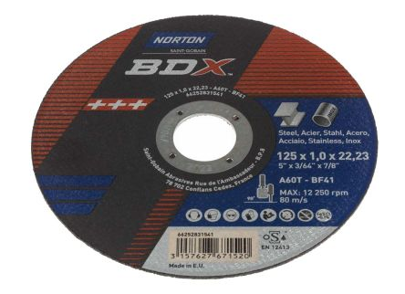 Norton BDX Cutting Disc Aluminium Oxide Cutting Disc, 125mm Diameter, 1mm Thick