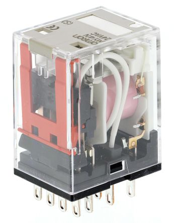 Omron MY4 4PDT Non-Latching Relay Plug In, 24V ac Coil, 5A on