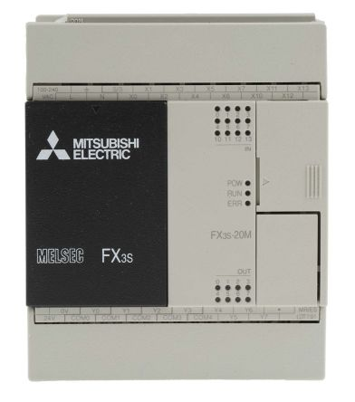 Mitsubishi FX3S PLC CPU, Ethernet, ModBus Networking, 4000 Steps Program  Capacity, 12 Inputs, 8 Outputs, 100 →