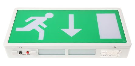 rs pro fluorescent emergency exit sign 3h non maintained down