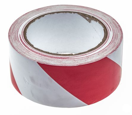 Red/White PVC 33m Hazard Tape, 50mm x product photo