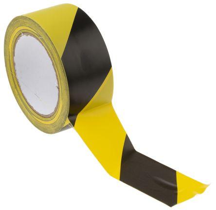 Black/Yellow PVC 33m Hazard Tape, 50mm x product photo