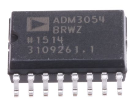 Analog Devices ADM3054BRWZ, CAN Transceiver 1MBps 1-channel ISO 11898, 16-Pin SOIC
