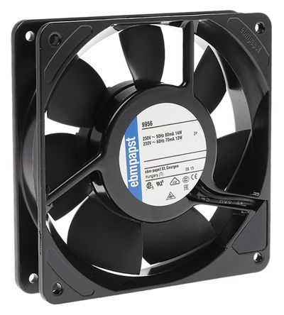 Fan Kit, ebm-papst, 9956-KR0 AC 117m³/h 2450rpm 9956 Axial Fan, LZ120/1.5 Fan Lead, LZ30K Fan Guard 14W 230 V ac