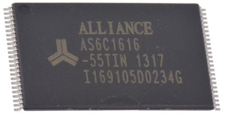 Alliance Memory, AS6C1616-55TIN SRAM Memory, 16Mbit, 55ns, 3, 3.3 TSOP 48-Pin