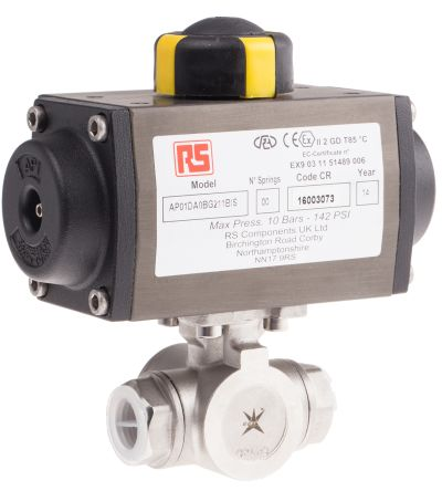 Double Acting Actuator Valve Stainless Steel 3 Way, 1/2in Pipe Size product photo