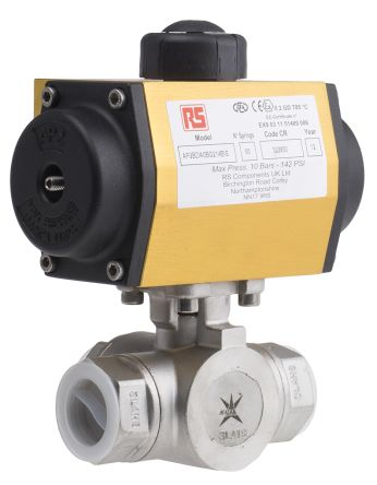Double Acting Actuator Valve Stainless Steel 3 Way, 1in Pipe Size product photo