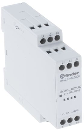 Finder 8 A DPDT Solid State Relay, AC, DIN Rail, 400 V ac Maximum Load