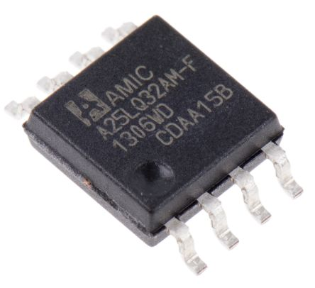 AMIC Technology A25LQ32AM-F, SPI 32Mbit Flash Memory Chip, 5ns; 3V, 8-Pin SOP