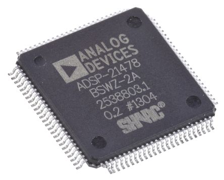 Analog Devices ADSP-21478BSWZ-2A SHARC, 32bit DSP 266MHz 512 kB ROM LQFP 100-Pin