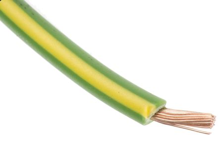 RS Pro Green/Yellow Tri-rated Cable, 1.5 mm² CSA, 600 V, 21 A, 100m