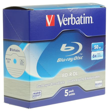 Verbatim 50 GB BD-R 6X Blu-ray Disc, 5 Pack