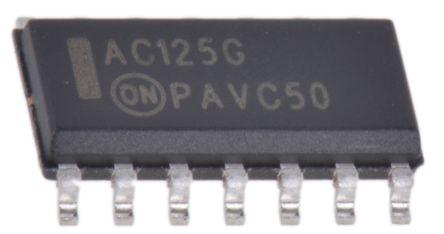 MC74AC125DG, Quad-Channel Non-Inverting Schmitt Trigger 3-State Buffer, 14-Pin SOIC